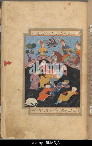 Ashâb al-kahf (the men of the cave) and their dog asleep in a cave, viewed from above by an astonished king and his three retainers, fol. 138. Qisas - Stock Photo