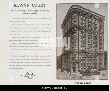 Alwyn Court. At the Crossing of Fifty-eighth Street and Seventh Avenue. The World's loose leaf album of apartment houses containing views and ground - Stock Photo