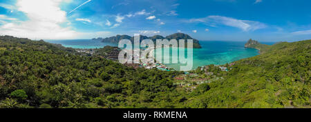 Koh Phi Phi Don - Amazing view of bay in andaman sea from View Point. Paradise coast of tropical island Phi-Phi Don. Krabi Province, Thailand. Travel - Stock Photo
