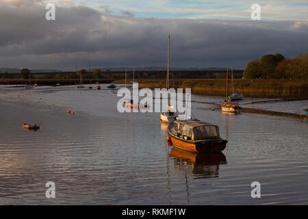 Boats and reedbeds near Topsham Exe Estuary Devon England UK - Stock Photo