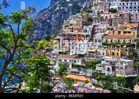 City of Positano on Amalfi coast in the province of Salerno, Campania, Italy. - Stock Photo