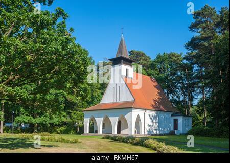 Protestant church, Baabe, Ruegen, Mecklenburg-Vorpommern, Germany, Europe. - Stock Photo