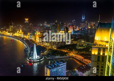 Waibaidu Bridge Monument to People's Heroes Bund Shanghai China Night Shot One of the most famous places in Shanghai and China. - Stock Photo