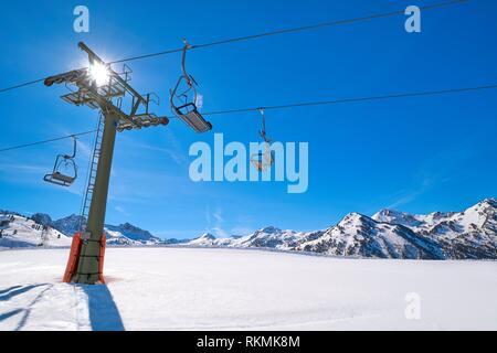 Baqueira Beret in Lerida Catalonia ski spot resort in Aran Valley of Pyrenees Spain. - Stock Photo