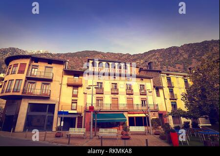 Andorra la Vella facades at Pyrenees. - Stock Photo