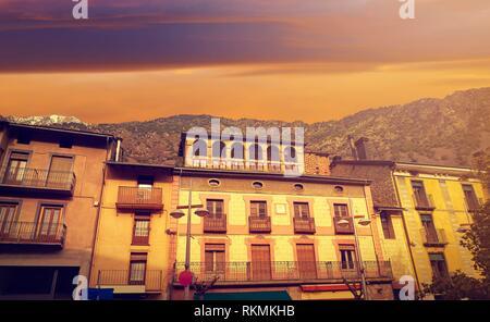 Andorra la Vella facades at Pyrenees. - Stock Photo