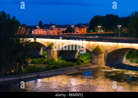 George V Bridge by night, Loire River, Orleans City, Loiret Department, The Loire Valley, France, Europe. - Stock Photo
