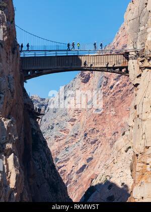 Caminito del Rey, Gorge of the Gaitanes (Desfiladero de los Gaitanes), Ã. lora, Málaga, Andalusia, Spain, Europe. - Stock Photo