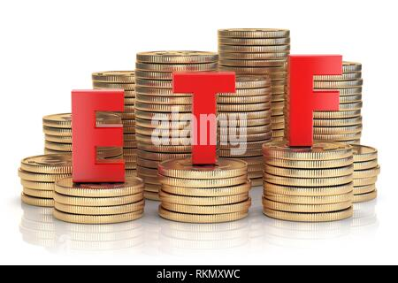 ETF exchange traded fund onthe stacks of golden coins. Stock exchenge and investment concept. 3d illustration. - Stock Photo