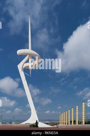 Montjuïc Communications Tower in the Olympic Park, Barcelona, Spain - Stock Photo
