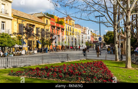 Seville, Spain - July 15, 2017: Seville is the capital of the autonomous community of Andalusia in southern Spain. Streets and sights of the city arch - Stock Photo