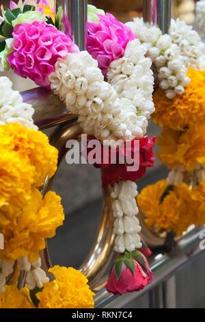 Bangkok Thailand, Pak Khlong Talat market stall selling marigold garlands or phusng malai - Stock Photo