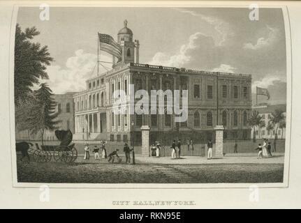 City Hall, New York. Stone, William L. (William Leete) (1792-1844) (Author) Colden, Cadwallader D. (Cadwallader David) (1769-1834) (Author) Burton, - Stock Photo