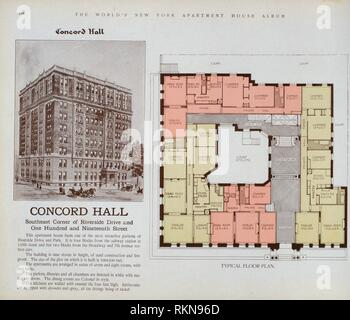 Concord Hall, Southeast corner of Riverside Drive and One Hundred and Nineteenth Street. The World's loose leaf album of apartment houses containing - Stock Photo