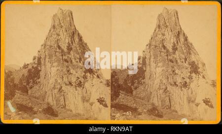 Cedar Grove tower rock. Additional title: Rocky Mountain Scenery. 52. C. Duhem & Bro. (Photographer). Robert N. Dennis collection of stereoscopic - Stock Photo