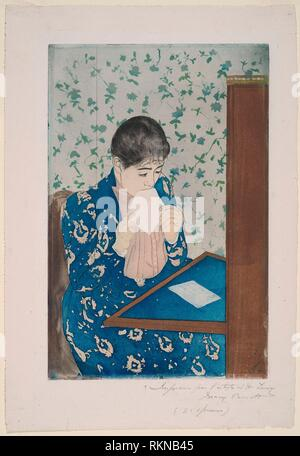 The Letter - 1890/91 - Mary Cassatt (American, 1844-1926) printed with Leroy (French, active 1876-1900) - Artist: Mary Cassatt, Origin: United - Stock Photo