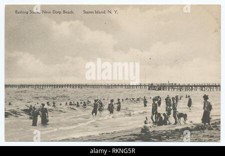 Bathing Scene, New Dorp Beach, Staten Island, N.Y. [people bathing, long pier off beach.]. Staten Island post cards Beaches (Miscellaneous). Staten