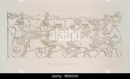 Assyrian warriors in battle. Layard, Austen Henry, Sir (1817-1894) (Author). The monuments of Nineveh, from drawings made on the spot. By Austen - Stock Photo