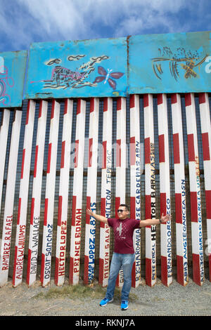 View from the Mexican side of Mexico-United States border fence in Tijuana, Mexico on June 9, 2017. Photo by Bénédicte Desrus - Stock Photo
