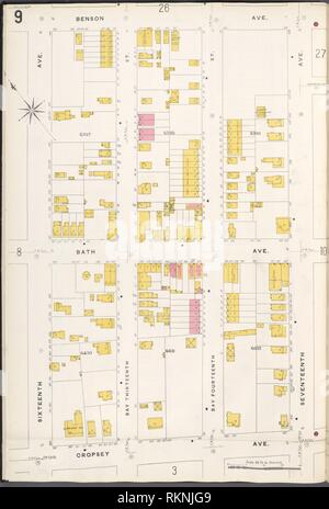 Brooklyn V. 12, Plate No. 9 [Map bounded by Benson Ave., 17th Ave., Cropsey Ave., 16th Ave.]. Sanborn Map Company (Publisher). Atlases of New York