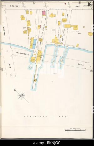 Brooklyn V. 12, Plate No. 16 [Map bounded by Cropsey Ave., Warehouse Ave., Bay Parkway]. Sanborn Map Company (Publisher). Atlases of New York City