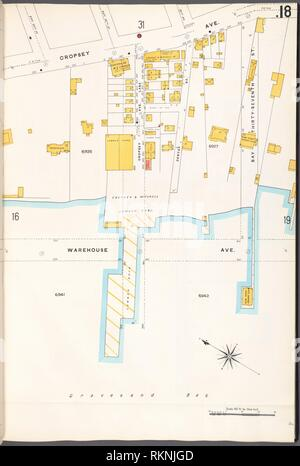 Brooklyn V. 12, Plate No. 18 [Map bounded by Cropsey Ave., Bay 37th St., Warehouse Ave.]. Sanborn Map Company (Publisher). Atlases of New York City