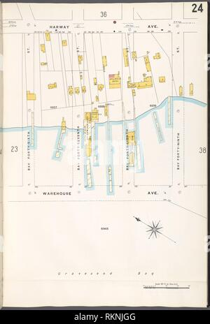 Brooklyn V. 12, Plate No. 24 [Map bounded by Harway Ave., Bay 49th St., Warehouse Ave., Bay 46th St.]. Sanborn Map Company (Publisher). Atlases of