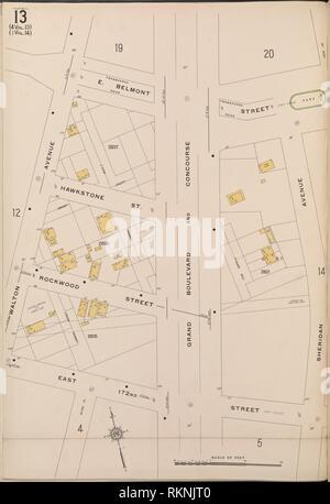 Bronx, V. 15, Plate No. 13 [Map bounded by E. Belmont St., Sheridan Ave., E. 172nd St., Walton Ave.]. Sanborn Map Company (Publisher). Atlases of New - Stock Photo