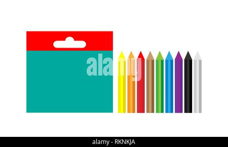 A set of multi-colored wax crayons for creativity. Vector. - Stock Photo