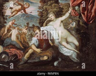 Venus and Mars with Cupid and the Three Graces in a Landscape - 1590/95 - Domenico Tintoretto Italian, 1560-1635 Tintoretto Italian, 1518-1594 - Stock Photo