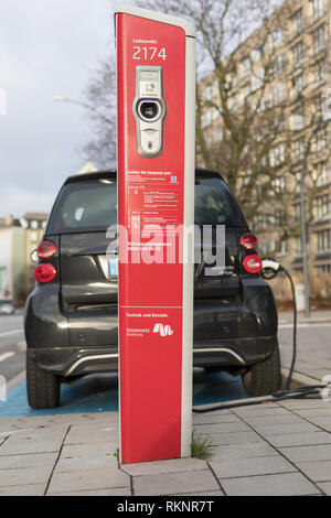 charging column for e-car in Hamburg - Stock Photo
