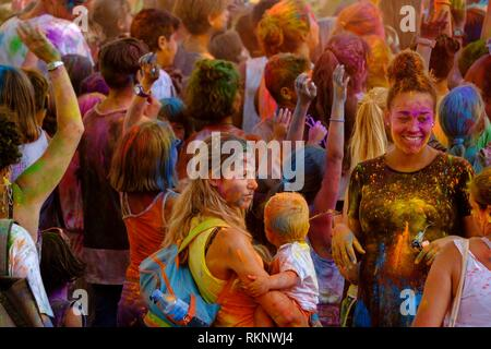 Children´s Holi Festival, Llucmajor, Mallorca, Balearic islands, Spain. - Stock Photo