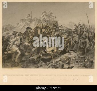 Battle of Saratoga. Gen. Arnold wounded in the attack on the Hessian Redoubt. Additional title: Battle of Saratoga. General Arnold wounded in the - Stock Photo
