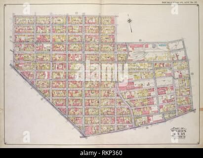 Brooklyn, Vol. 1, 2nd Part, Double Page Plate No. 37; Part of Wards 16 & 18, Section 10 & 8; [Map bounded by Ten Eyck St., Bushwick Ave., Meserole - Stock Photo