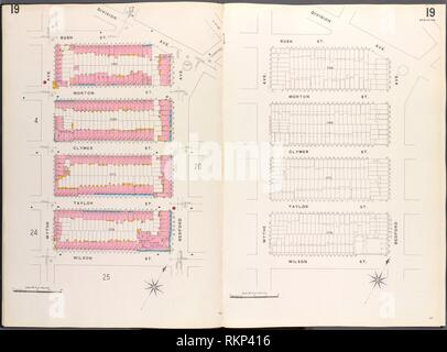 Brooklyn V. 3, Plate No. 19 [Map bounded by Rush St., Division Ave., Bedford Ave., Wilson St., Wythe Ave.]. Sanborn Map Company (Publisher). Atlases
