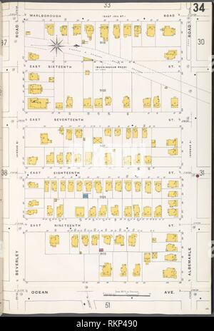 Brooklyn V. 10, Plate No. 34 [Map bounded by Marlborough Rd., Albemarle Rd., Ocean Ave., Beverley Rd.]. Sanborn Map Company (Publisher). Atlases of Stock Photo
