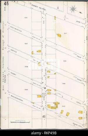 Brooklyn V. 10, Plate No. 45 [Map bounded by Coney Island Ave., Ditmas Ave., Marlborough Rd., Foster Ave.]. Sanborn Map Company (Publisher). Atlases Stock Photo