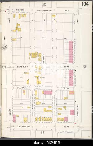 Brooklyn V. 10, Plate No. 104 [Map bounded by Tilden Ave., Nostrand Ave., Clarendon Rd., Rogers Ave.]. Sanborn Map Company (Publisher). Atlases of Stock Photo