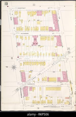 Brooklyn V. 8, Plate No. 19 [Map bounded by Chestnut St., Fulton St., Hale Ave., Ridgewood Ave.]. Sanborn Map Company (Publisher). Atlases of New