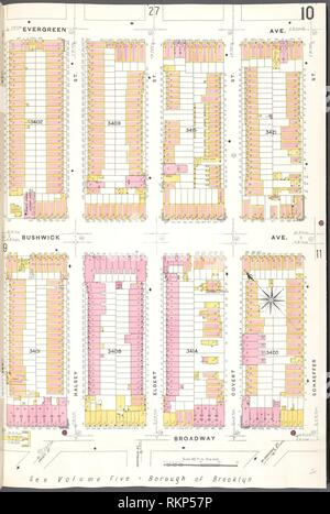 Brooklyn V. 9, Plate No. 10 [Map bounded by Evergreen Ave., Schaeffer St., Broadway, Weirfield St.]. Sanborn Map Company (Publisher). Atlases of New Stock Photo