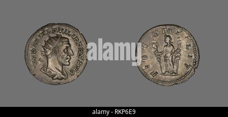 Denarius (Coin) Portraying King Philip II - AD 244/247 - Roman - Artist: Ancient Roman, Origin: Rome, Date: 244 AD–247 AD, Medium: Silver, - Stock Photo