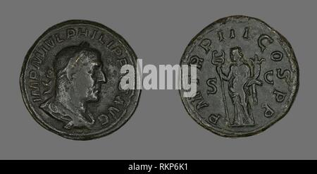 Sestertius (Coin) Portraying King Philip I - AD 246 - Roman - Artist: Ancient Roman, Origin: Rome, Date: 246 AD, Medium: Bronze, Dimensions: Diam. - Stock Photo