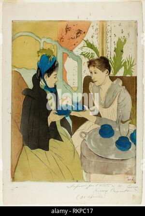 Afternoon Tea Party - 1890–91 - Mary Cassatt (American, 1844-1926) printed with Leroy (French, active 1876-1900) - Artist: Mary Cassatt, Origin: - Stock Photo