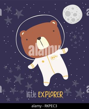 cute bear in astronaut suit on starry background and moon. drawn style illustration. can be used for nursery decoration, design for baby and kids - Stock Photo