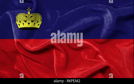 Realistic flag of Liechtenstein on the wavy surface of fabric - Stock Photo