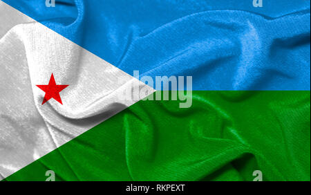 Realistic flag of Djibouti on the wavy surface of fabric - Stock Photo