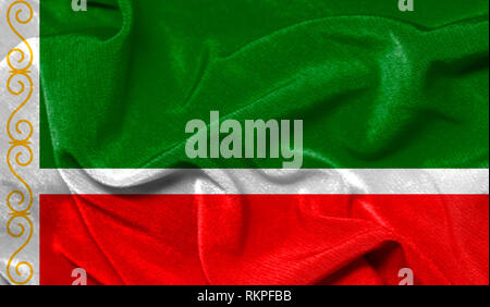 Realistic flag of Chechen Republic on the wavy surface of fabric - Stock Photo