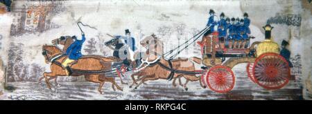 Heroism on Land (Fire Engine) - 1875/1900 - Woven by Thomas Stevens (English, 1828–1888) England, Coventry - Artist: Thomas Stevens, Origin: - Stock Photo