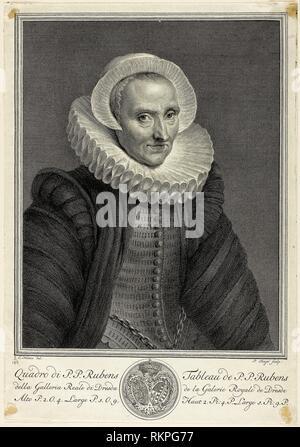 Portrait of a Sixty-year-old Woman, from Recueil d'estampes d'après les plus célèbres tableaux de la Galerie Royale de Dresde - c. 1757 - Pieter - Stock Photo