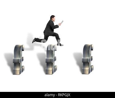 Businessman jumping over 3d pound symbols isolated in white background - Stock Photo